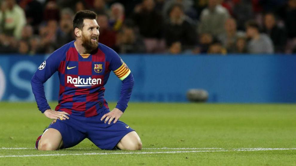 Messi, en una acción en el partido frente al Slavia